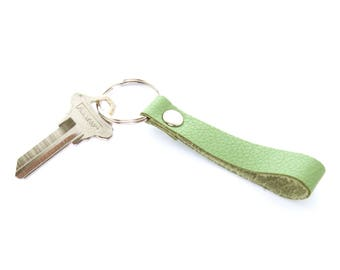 Green Leather Key Fob, Handmade in Texas, Leather Loop Key Ring, Silver Keychain, Unisex Key Fob, Gifts Under 15, Free Shipping