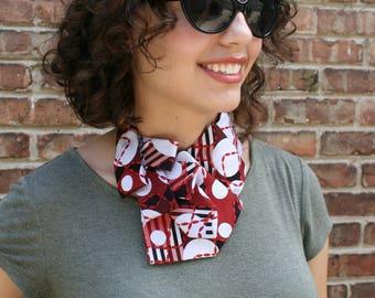 Necktie Necklace - Ascot - Necktie Scarf - Women's Tie - Hipster Clothing - Work Wear - Vintage Tie - Red Polka Dot Tie. 52