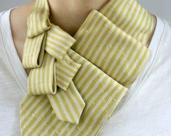 Ascot Tie - Womens Necktie Scarf - Gold Neckerchief - Work Wear - Striped Scarf - Gift For Mom - Gold Striped Lauren Scarf. 14