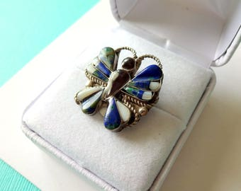 Small Zuni Sterling Inlay Butterfly Pendant/Brooch