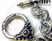 "Eros Heart Charm Bracelet .925 Sterling Silver Gothic Fairytale Red Garnet Stone 8"""