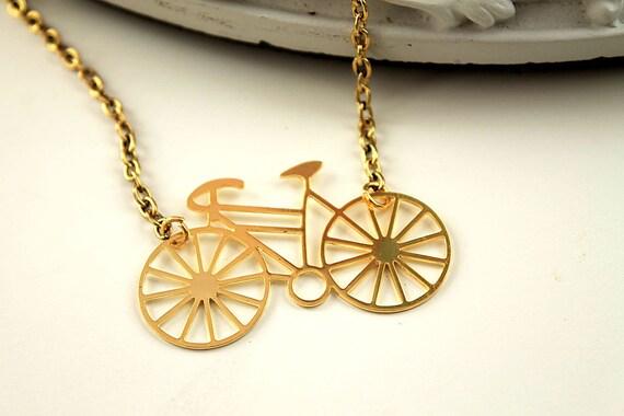 Golden bike bicycle necklace  filigree geometric modern