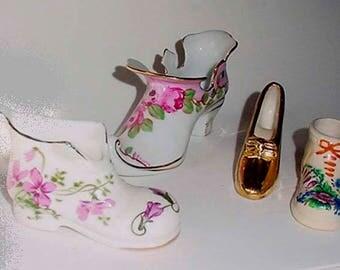 Collection of Antique Porcelain Shoes - Decorative Collectors Shoes - Lovely Decor