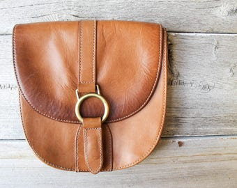 Fun BoHo Pouch, Safe Travel Pouch, Vintage Leather, Belt pouch, Tan Leather Purse, boho pouch, 90s boho purse,