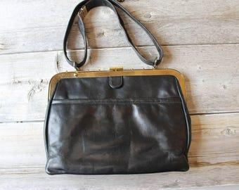Ruth Saltz Black Leather Purse, Leather Handbag, Vintage Leather Purse, Gold details, Classic