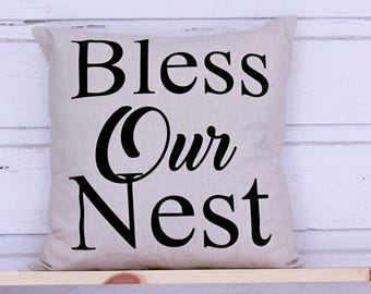 Our Nest Pillow COVER, Bless Pillow Sofa Pillow cover Throw Pillow Country style Cover Farmhouse Style Natrual Pillow Cover Bless our nest