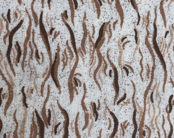 2 1/3 Yards of Vintage Brown and White Abstract Print Cotton Fabric