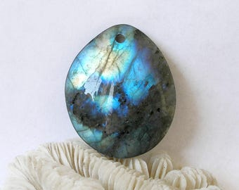 Labradorite Pendant Reversible Blue Flash Baroque Oval For Jewelry Making