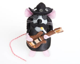 NEW Lemmy Mouse - LIMITED EDITION Motörhead Heavy Metal Rock and Roll inspired collectable Music art rat artists mice felt mouse sculpture