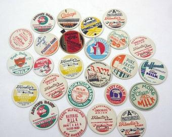 Assorted Vintage Milk Bottle Caps Set of 25 Lot A