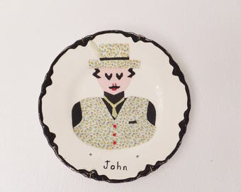 Mid Century Decorative Plate Ode to John Collage Plate Wall Hanging Retro Mid Century Home Decor Vtg 1970's Assemblage Retro Craft Art