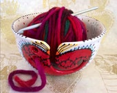 Michele's Custom Sacred Heart Yarn Bowl with Handle and Spirals and Polka Dots