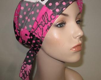 Scrub Cap  Chemo Scarf,  New Hello Kitty Print  Hat, Cancer Hat, Hijab, Alopecia Turban Pediatric Nurses Hat