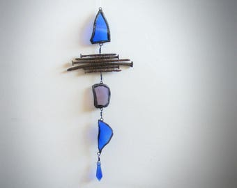 suncatcher >> BLUE FISH << Upcycled Recycled, found arroyo glass and rust, Window Art, Glass Art, Cabin Decor, fisherman hunter outdoorsman