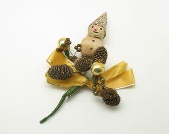 Vintage Christmas Corsage Spun Cotton Snowman Glass Beads