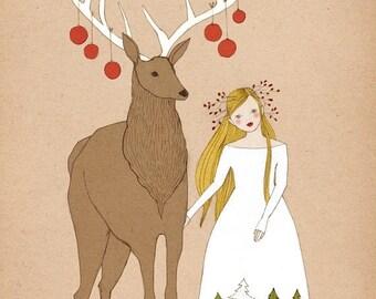 Sale Deer and Girl Christmas illustration art print of original drawing