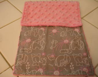 Elephants You Are My Sunshine in Pink and Gray Minky Baby Burp Cloth 8 x 18 READY TO SHIP