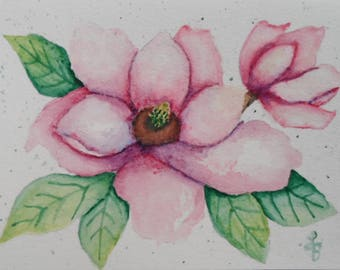Watercolor Magnolia Card Watercolors Magnolias Greeting Cards Hand Painted Cards Watercolor Flowers