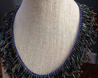 Statement Necklace|Fringe Necklace|Brown Beaded Necklace