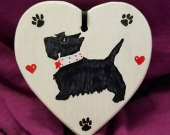 Scottie Dog Ornament, Valentine's Day, Scottish Terrier, Wooden, Hand Painted
