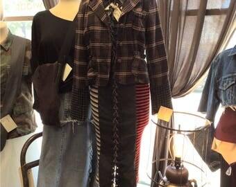 CUSTOM Handmade Mixed Media Stripey Tube Dress YOUR SIZE
