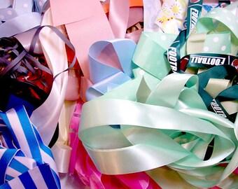 Grosgrain and Satin Ribbon Scraps, Bag of Assorted Ribbon Scraps x 1 Pound