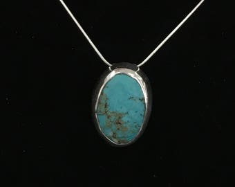 Sterling Silver Turquoise Pendant with 18 inch Snake Chain