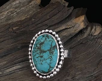 Turquoise Statement Ring with Warrior Runes