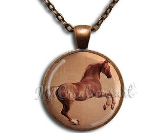 25% OFF - Whistlejacket Painting Horse Glass Dome Pendant or with Chain Link Necklace AP117