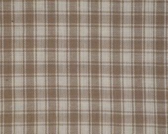 Plaid Cotton Homespun Fabric   Plaid Fabric   Quilt Fabric   Home Decor Fabric   Craft Fabric   Taupe Plaid Fabric   35 x 44