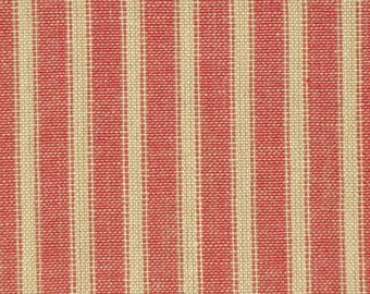 Red Stripe Material | Homespun Ticking Material | Red & Tea Dye Stripe Ticking Material | Primitive Material | Cotton Home Decor Material