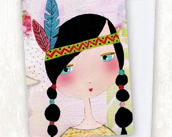 Painted Feathered Girl GREETING CARD