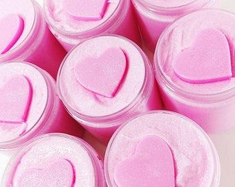 Pink Sugar Body Scrub. Sugar Scrubs. Natural Body Scrub. Whipped Soap Sugar Scrub. Gift for Her. Body Polish Scrub. Shaving Emulsified Scrub