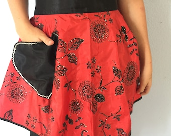 Vintage Half Apron Red and Black Hostess Apron