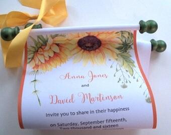 Fall wedding invitation scroll, sunflower wedding invitation, garden wedding, country picnic, autumn invite, cottage chic, set of 10