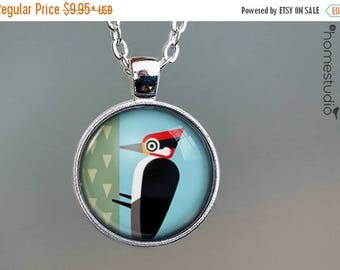 ON SALE - Woodpecker : Glass Dome Necklace, Pendant or Keychain Key Ring. Gift Present metal round art photo jewelry by HomeStudio