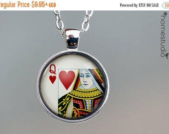 ON SALE - Queen of Hearts : Glass Dome Necklace, Pendant or Keychain Key Ring. Gift Present metal round art photo jewelry by HomeStudio
