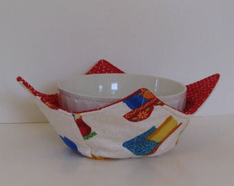 Microwave Fabric Bowl, Pottery, Colorful Pottery , Fabric Food Warming Bowl, Ice Cream Bowl, Hostess Gift, Kitchen Gift, Bridal Gift