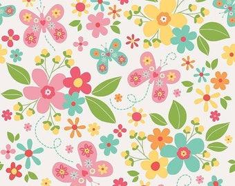 EXTRA15 20% OFF Riley Blake Designs Garden Girl by Zoe Pearn - Main White