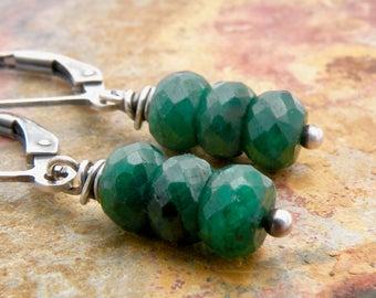 May Birthstone, Emerald Earrings, Green Stone Earrings, Gemstone Earrings, Sterling Silver, Lever Back Ear Wires, Petite Earrings, #4776
