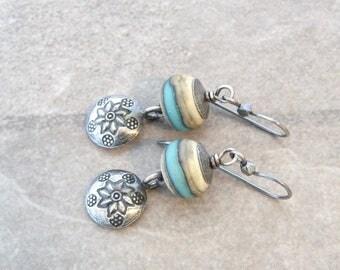 southwest earrings, silver earrings, teal lampwork glass earrings, oxidized jewelry