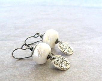 white lampwork earrings, white dangle earrings, oxidized silver, pmc silver