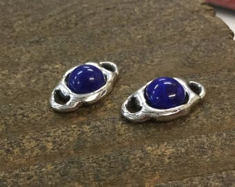 Lapis cabochon Rounded Link Sterling Silver