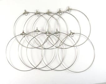 10 Wire Hoops Stainless Steel Large Lightweight Earring Drops Circle Pendants Round 20 gauge 57mm (2.25 in.) - 10 pc - M7078HP-SS10
