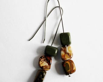 Minimalist Stacked Stone Earrings Natural Jasper Stone Beads Stacked Stones Handmade Stainless Steel Earwires Jewelry by Hendywood