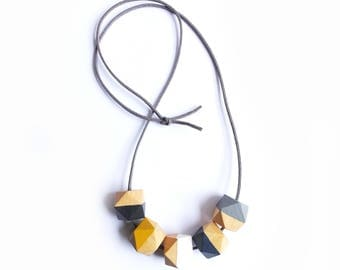 Long Grey Hexagon Necklace, Geometric Necklace, Wooden Geometric Jewellery, Grey Mustard Necklace, Teething Necklace, Gift for Her