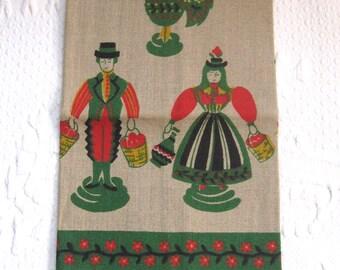 Pennsylvania dutch dish towel . Pennsylvania dutch . rooster dish towel . linen dish towel . NOS kitchen towel