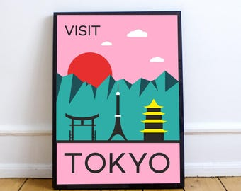 Mid century modern vintage iconic abstract Tokyo Japan travel poster print download printable art