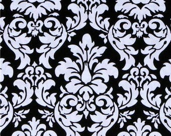 OOP Michael Miller Fabric by the Yard - Dandy Damask in Black and White - Designer Fabric
