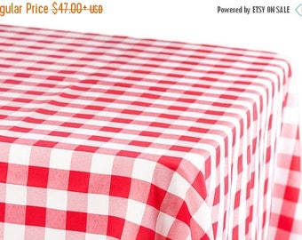 ON SALE RED Buffalo Checks Tablecloth - Red white Poly-Cotton, wedding, bridal, baby shower, Picnics,  Memorial day, independence day